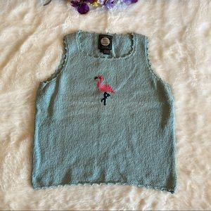 Planet Earth Green Hand Loomed Knit Tank Top Sz L